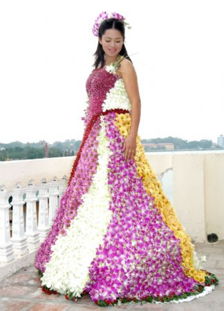 Flower covered wedding dress lucky dresses for How much is a custom wedding dress